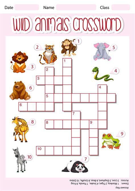 wild animals crossword template   vectors