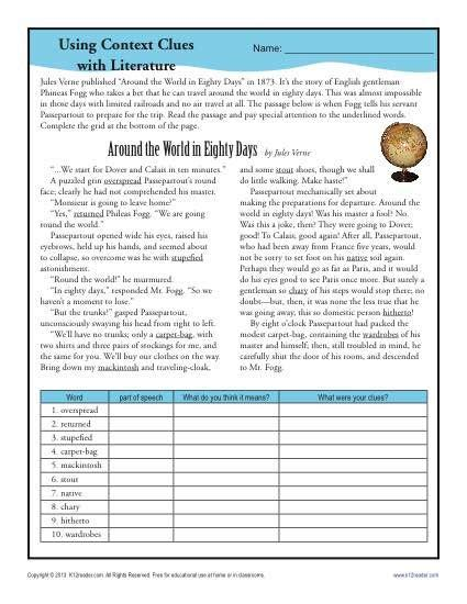 using context clues with literature school worksheets