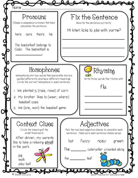 morning work freebie for 2nd grade 2nd gr