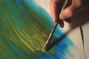 peindre a lacrylique appliquer un frottis l39atelier With peindre l eau a l acrylique