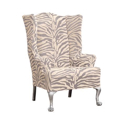slipcovers for wing chairs sure fit stretch zebra wing chair slipcover ebay