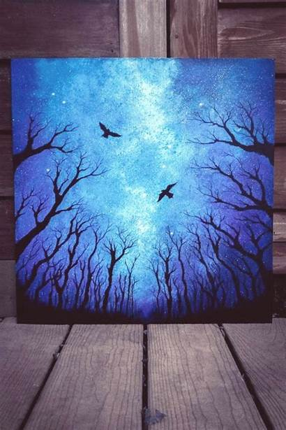 Painting Acrylic Forest Dark