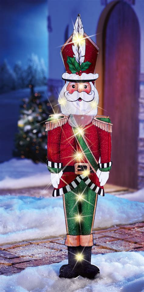 lighted santa claus holiday lawn yard stake outdoor