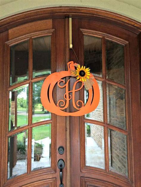pumpkin monogram door hanger wood letter pumpkin monogram monogram pumpkin door hanger