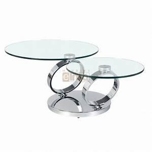 Verre Pour Table Basse : table basse ronde pied acier design verre double plateau olympe ~ Teatrodelosmanantiales.com Idées de Décoration
