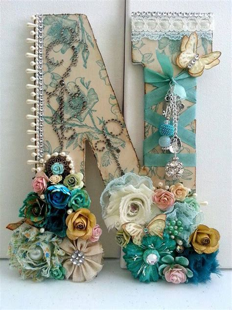 altered art letter  scrapbook paper flowers ribbon  embellishments atmsgardengrove