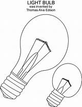 Bulb Coloring Printable Pages Inventions Drawing Pdf Open sketch template