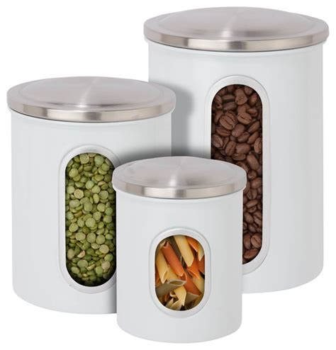 Modern Kitchen Canisters by Metal Storage Canisters White Set Of 3 Modern