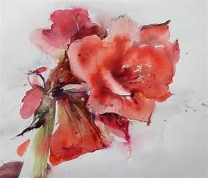 Aquarell Blumen Malen : amaryllis aquarell aquarellkunst ~ Frokenaadalensverden.com Haus und Dekorationen