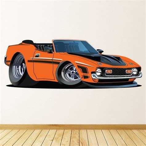 orange dodge wall sticker classic car wall decal boys