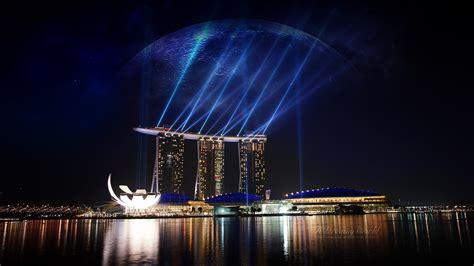 full hd wallpaper marina bay light singapore night