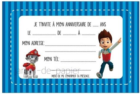 Carte D'invitation Anniversaire Enfant à Imprimer Pat