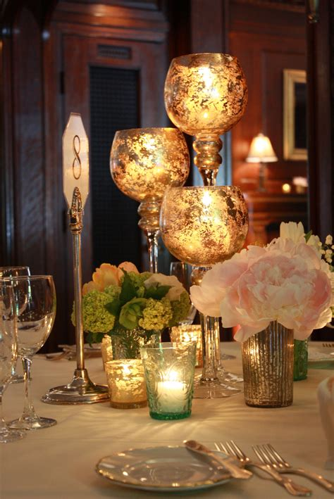 Mercury Glass Centerpieces Petalena Creative Designs
