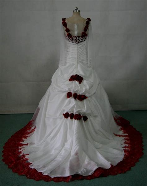 White Wedding Dress With Red Roses Naf Dresses