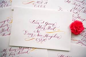 whitney ak39s colorful letterpress wedding invitations With wedding invite envelope calligraphy