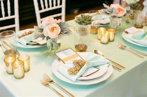 Mint Peach Gold Wedding Table Setting Table Settings