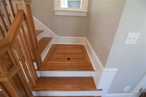 storage hatch   st floor stair landing tiny house