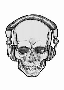 Girly Sugar Skull Design People With Headphones Drawing Clipart Best Art