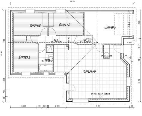 plan de maison 5 chambres plain pied plan de maison rectangle gratuit plans maisons