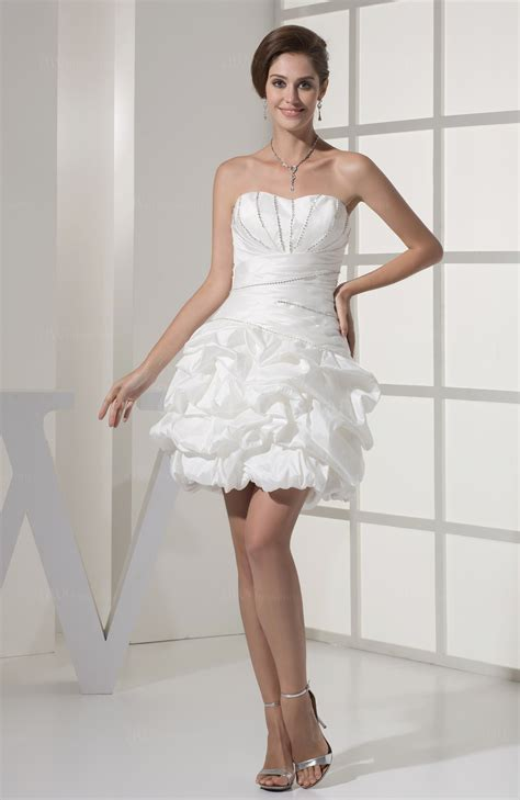 white sexy hall sweetheart sleeveless taffeta mini bridal