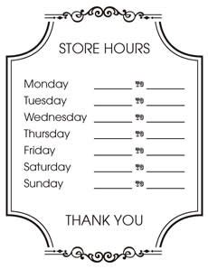 business hours template business hours sign template suitable portrayal ensg storehourssign bd 3 store ideastocker