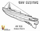 Submarine Coloring Pages Uss War Batfish Navy Printable Boss Yescoloring sketch template
