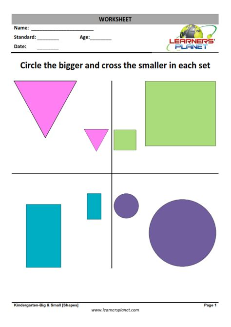 shapes  colors worksheets  kindergarten