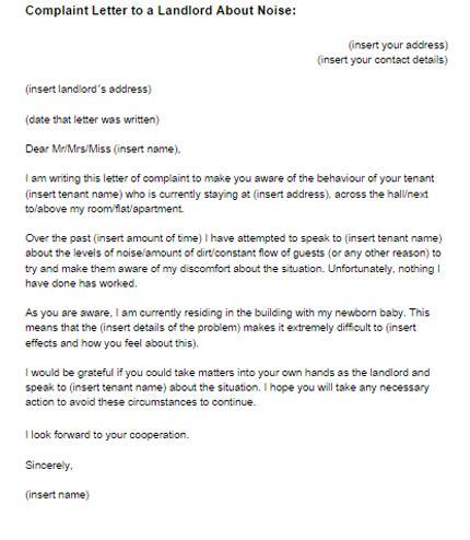 complaint letter  landlord  noise sample