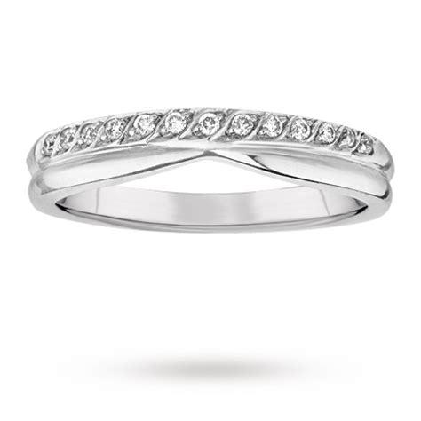 ladies diamond set shaped wedding ring in 18 carat white