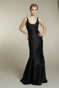 sophisticated long black bridesmaid dress onewedcom With long black dresses for weddings