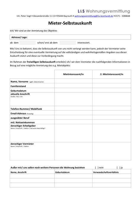 Selbstauskunft Wohnung Formular by Mieterselbstauskunft Formular Zum Kostenlosen