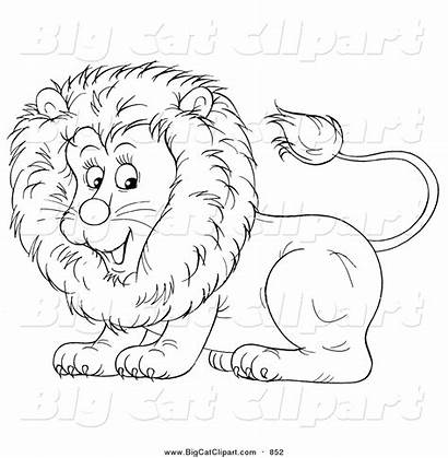Lion Coloring Cat Lineart Cartoon Clipart Pages