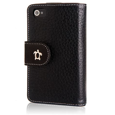 etui housse cuir iphone 4 s noir fourreau portefeuille iphone 4