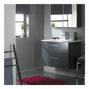 Meuble 80 Cm : meuble de salle de bain 80 cm 2 tiroirs gris laqu ~ Teatrodelosmanantiales.com Idées de Décoration