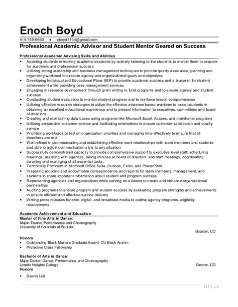Academic Advisor Resume by College Advisor Resume Description For Financial