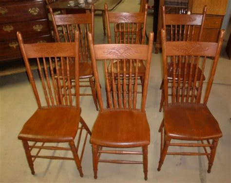 Oak Dining Room Chairs by Antique Press Back Oak Set Of 6 Dining Room Chairs