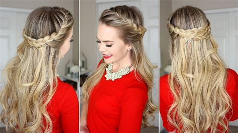 french braid crown  minute holiday hairstyle youtube