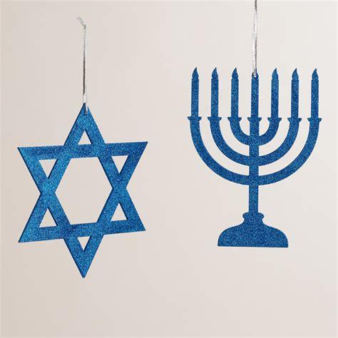 blue glittered wood hanukkah decor set of 2 world market