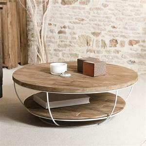 Table Basse Blanc Bois : table basse ronde bois et m tal blanc 100cm tinesixe ~ Teatrodelosmanantiales.com Idées de Décoration