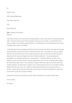 Format of a letter of complaint published | english