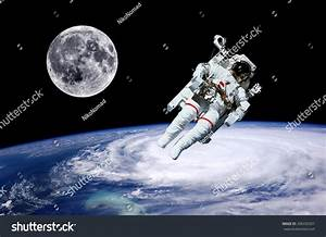 Astronaut Moon Earth Space World Background Stock Photo ...