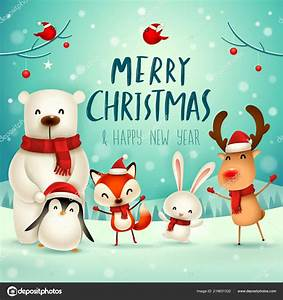 Merry Christmas Happy New Year Christmas Cute Animals ...