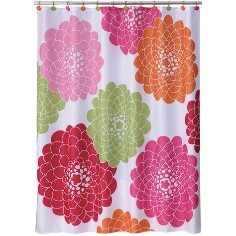 allure stella pink shower curtain big flowers
