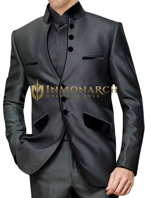 mens dark gray  pc nehru suit front open inmonarch
