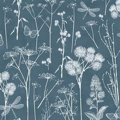 Teal Botanical Foliage Blackboard Muriva Floral Backgrounds