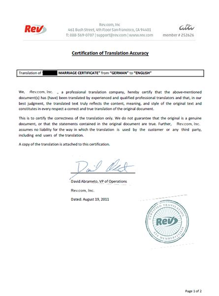 translate german marriage certificates rev