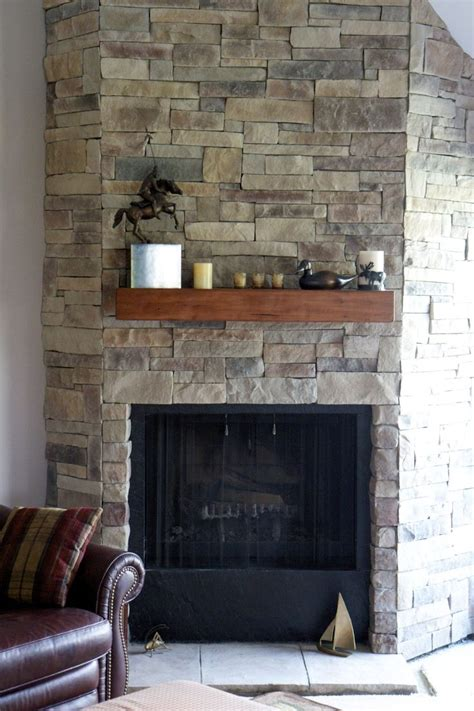 ledge stone fireplace installed  drywall   spruce