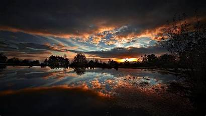 Sunset Nature Landscape Pc Dark Reflection Wallpapers