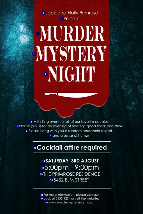murder mystery poster ticket printing