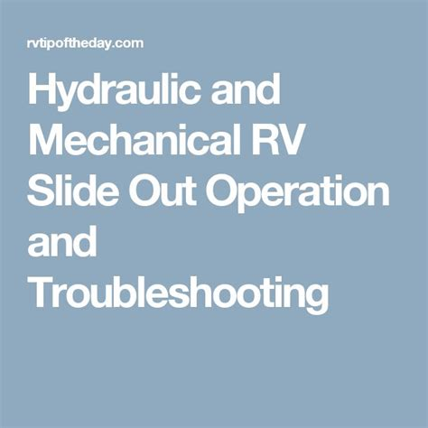 Problems Rv Hydraulic Slide Out